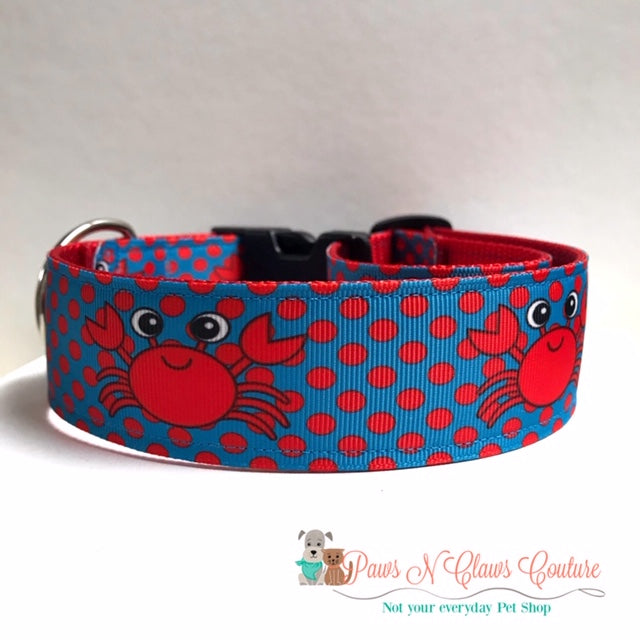 "1.5"" Happy Crab Dog Collar - Paws N Claws Couture"