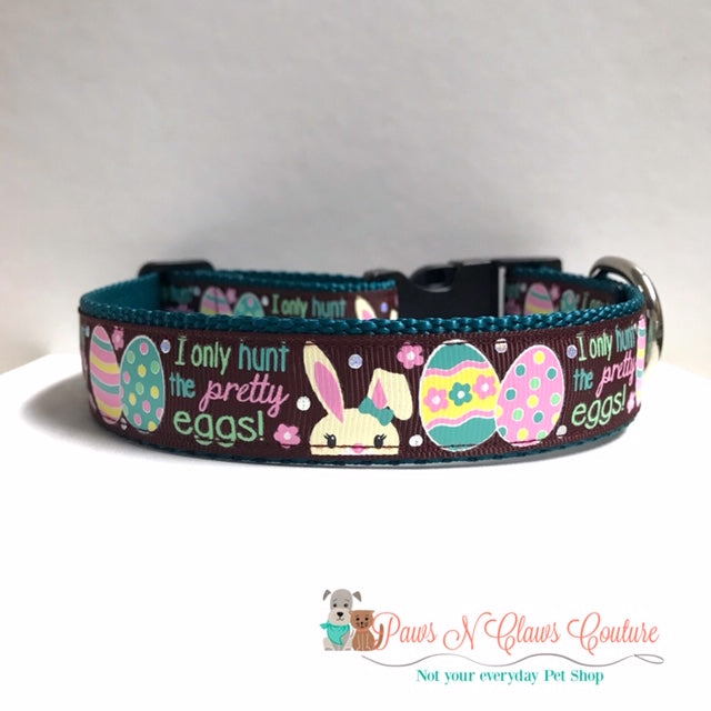 "1"" I only the hunt pretty eggs Dog Collar - Paws N Claws Couture"