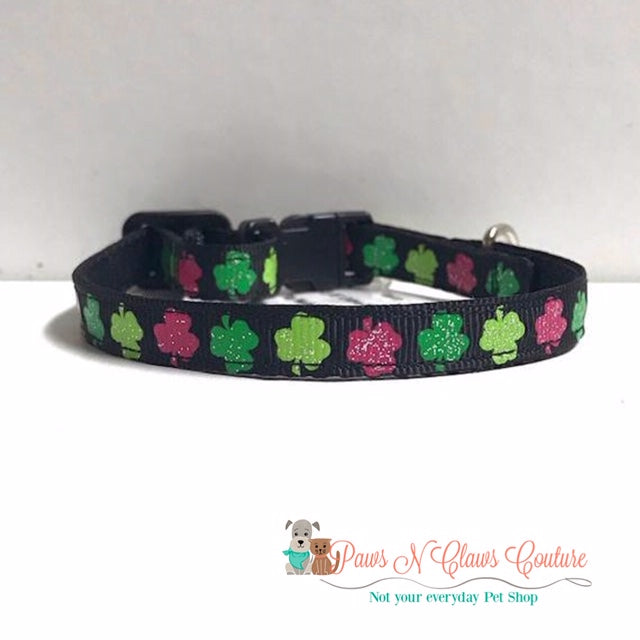 "3/8"" Pink & Green Clovers Cat or Small Dog Collar - Paws N Claws Couture"