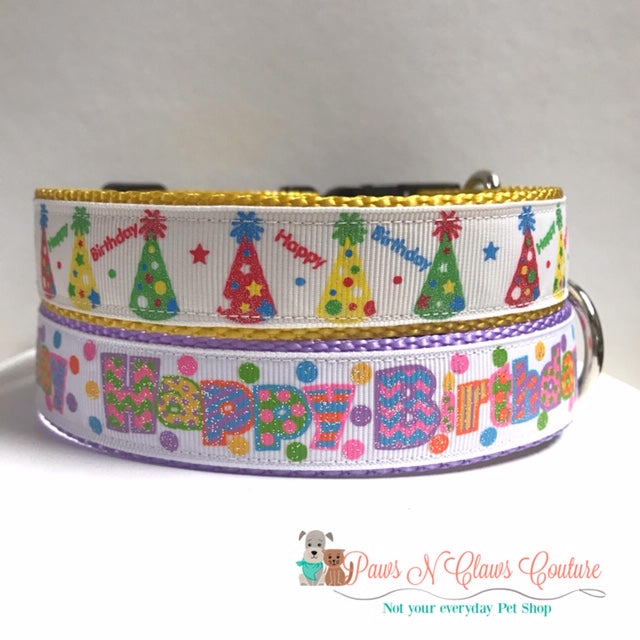 "1"" Happy Birthday Hats or Words Dog Collar"