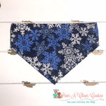 Glitter Snowflakes on Navy Bandana - Paws N Claws Couture