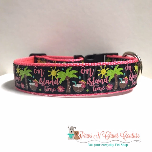 "1"" On Island Time Dog Collar - Paws N Claws Couture"
