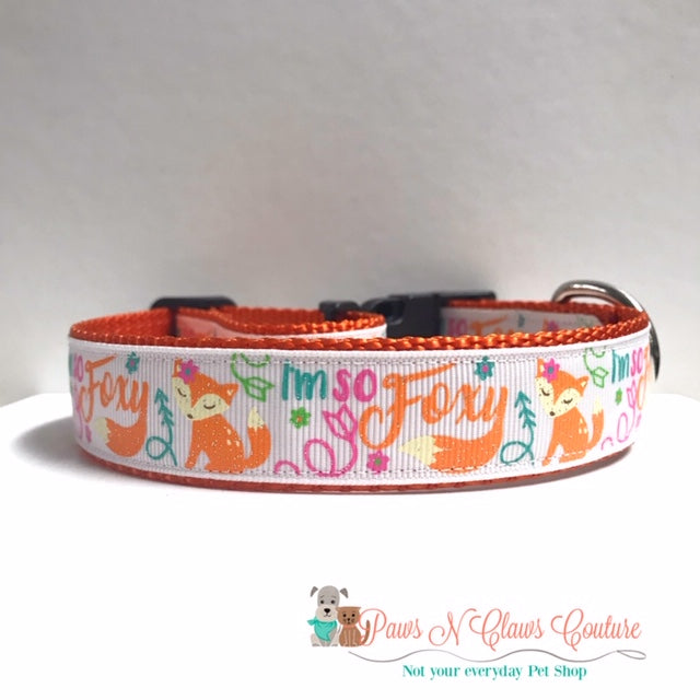"1"" Im so Foxy Dog Collar - Paws N Claws Couture"