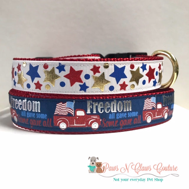 "1"" Freedom, all gave some, some gave all or Foil Stars Dog Collar - Paws N Claws Couture"