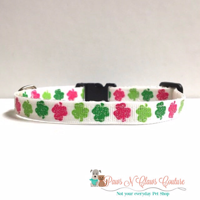 "3/8"" Green & Pink on white Clovers Cat or Small Dog Collar - Paws N Claws Couture"