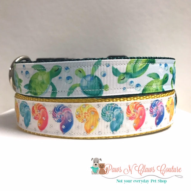 "1"" Sea Turtles or Beach Shells Dog Collar - Paws N Claws Couture"