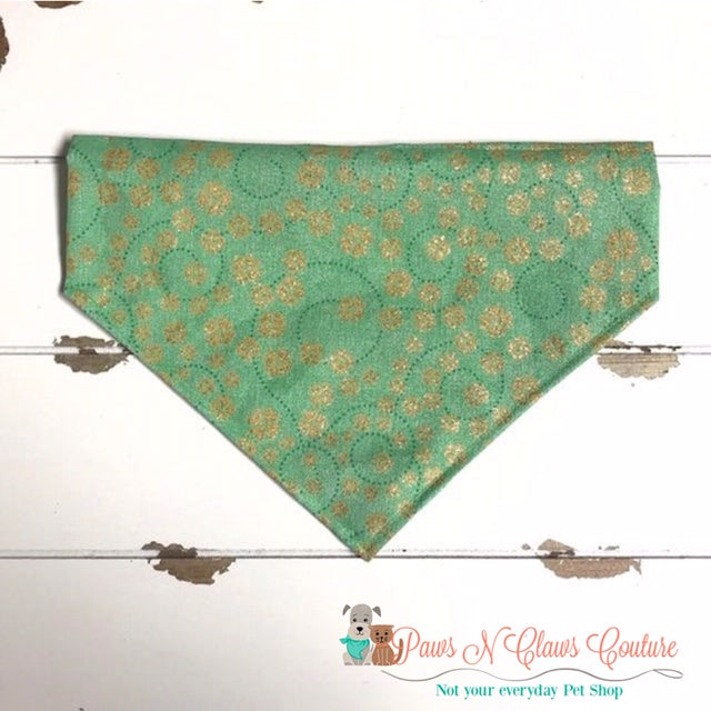 Gold Clovers and Green Swirls Bandana - Paws N Claws Couture