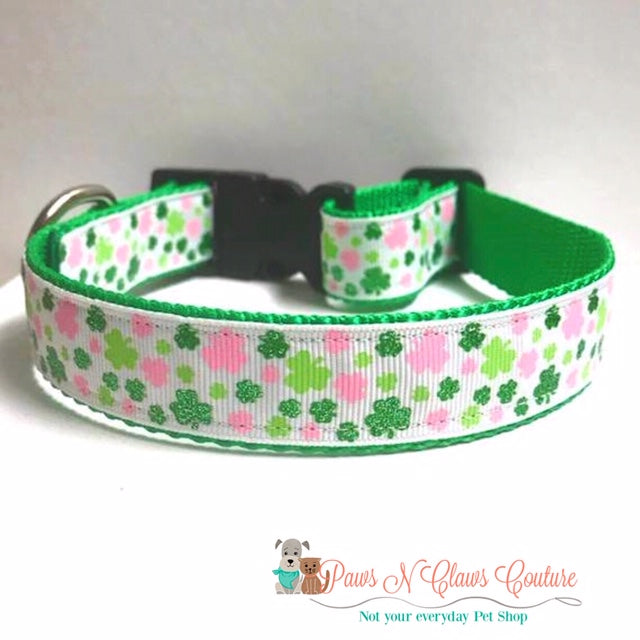 "1"" Pink & Green Mini Clovers Dog Collar - Paws N Claws Couture"