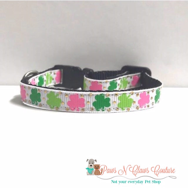 "3/8"" Pink & Green Clovers Cat or Small Dog Collar"