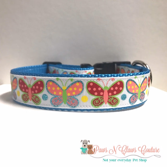 "1"" Spring Butterflies Dog Collar - Paws N Claws Couture"