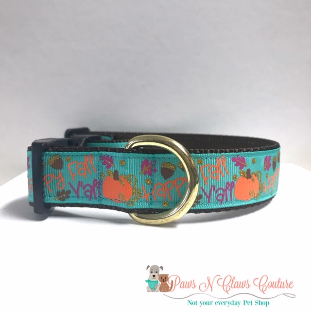 "1"" Happy Fall Y'all on Teal Dog Collar - Paws N Claws Couture"