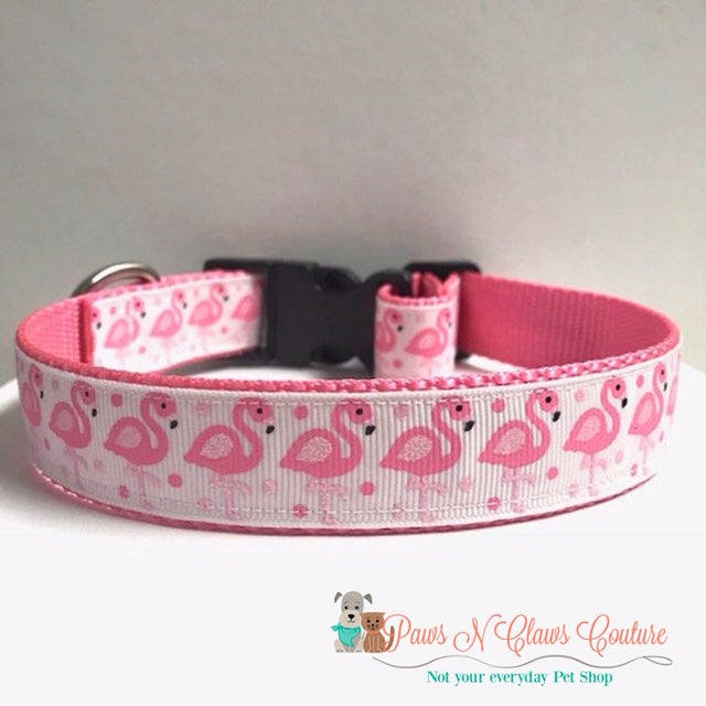 "1"" Glitter Flamingos Dog Collar - Paws N Claws Couture"