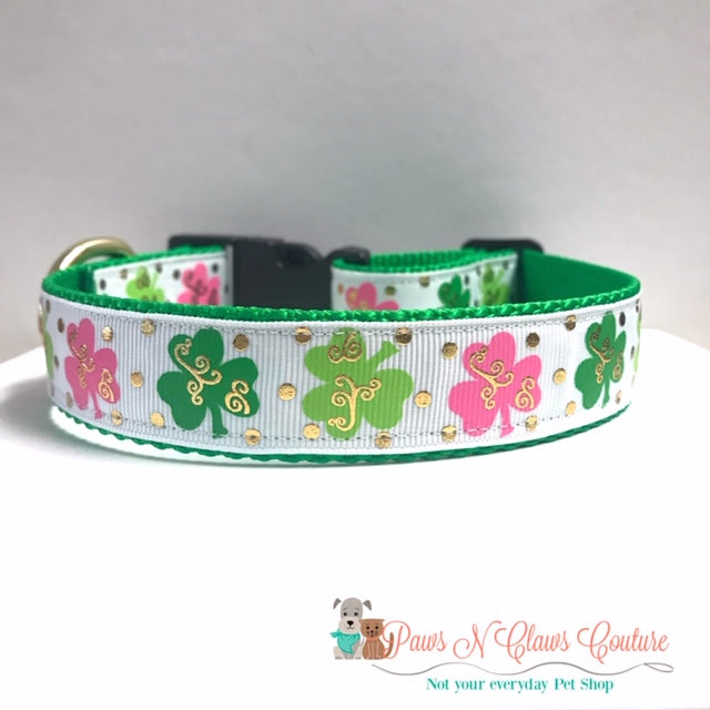 "1"" Pink & Green Clover with Dots Dog Collar"