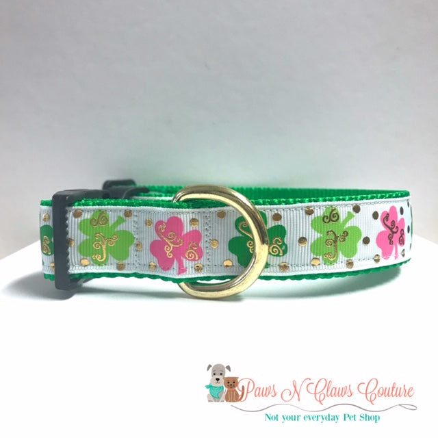 "1"" Pink & Green Clover with Dots Dog Collar - Paws N Claws Couture"