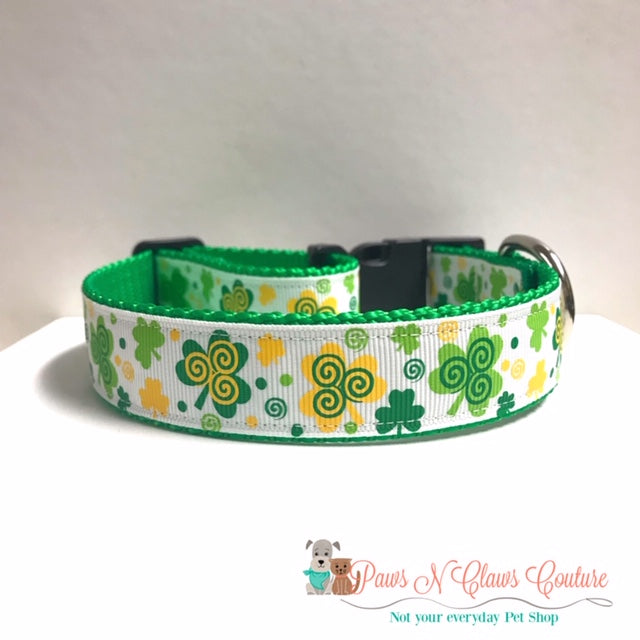 "1"" Swirly Clovers Dog Collar, Leash Available"