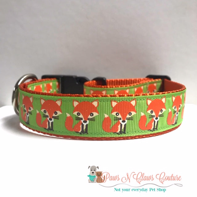 "1"" Glitter Fox Dog Collar"