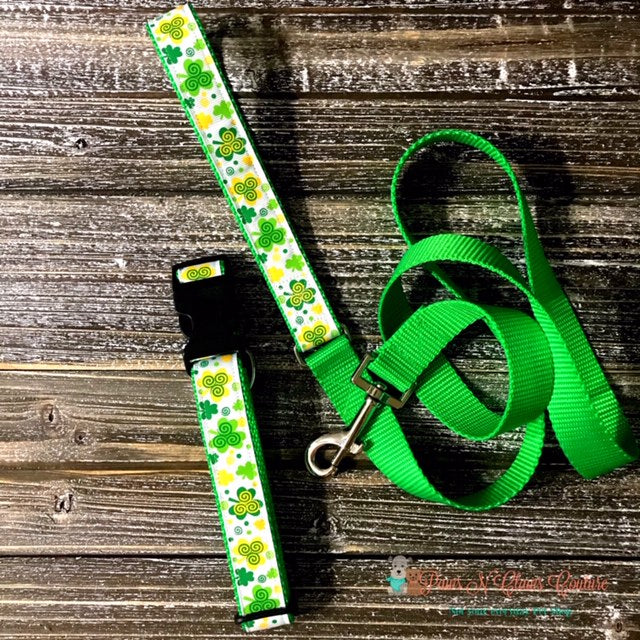 "1"" Swirly Clovers Dog Collar, Leash Available - Paws N Claws Couture"