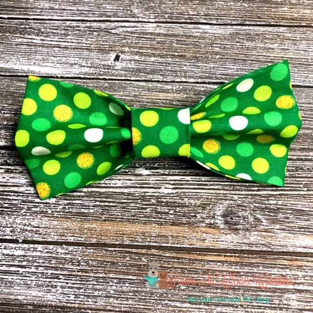 Polka Dot St Pattys Bow Tie - Paws N Claws Couture