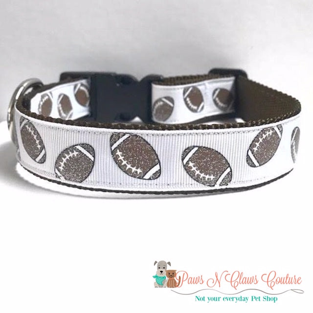 "1"" Glitter Footballs Dog Collar"
