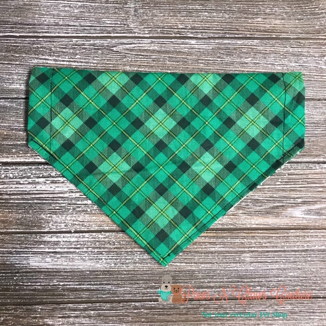 Reversible Plaid and Glitter Clovers Bandana - Paws N Claws Couture