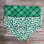 Reversible Plaid and Glitter Clovers Bandana