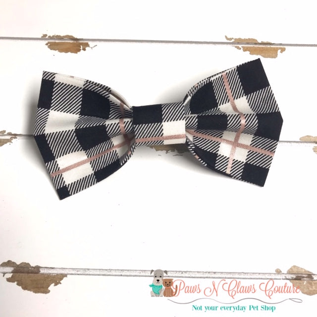 Buffalo Plaid Rose Gold Bow Tie