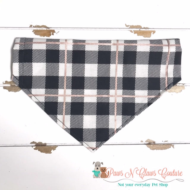 Black Buffalo Plaid Rose Gold Bandana - Paws N Claws Couture