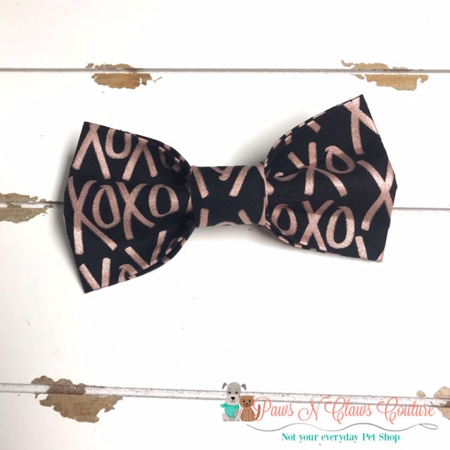 XOXO Rose Gold on Black Bow Tie