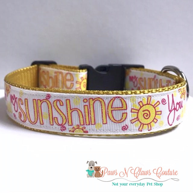 "1"" You are my Sunshine or Pineapples Dog Collar - Paws N Claws Couture"