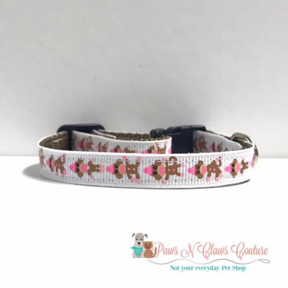"3/8"" Sock Monkey Cat or Small Dog Collar"