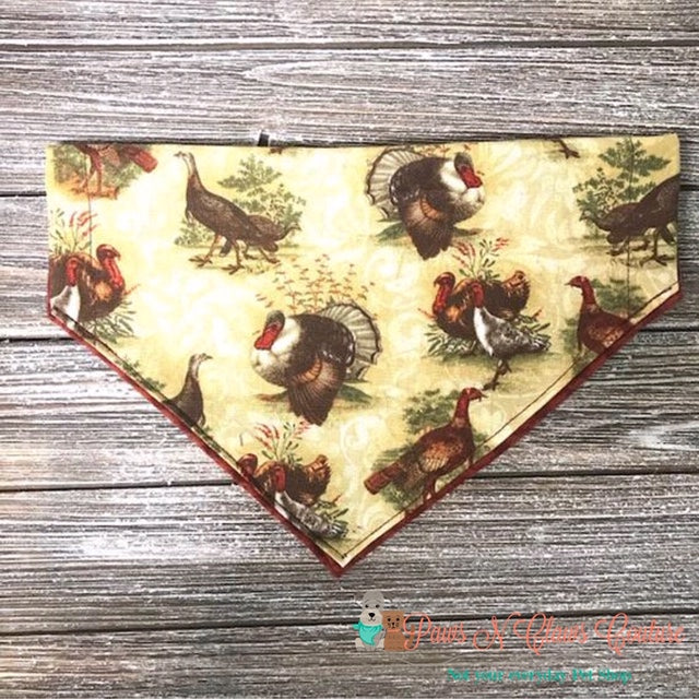 Reversible Turkeys Bandana - Paws N Claws Couture