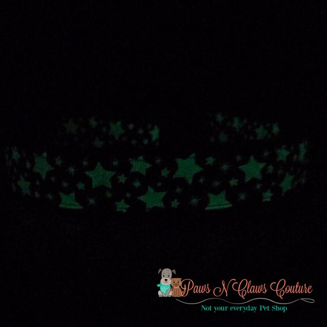 "1"" Glow in the Dark Stars Dog Collar - Paws N Claws Couture"