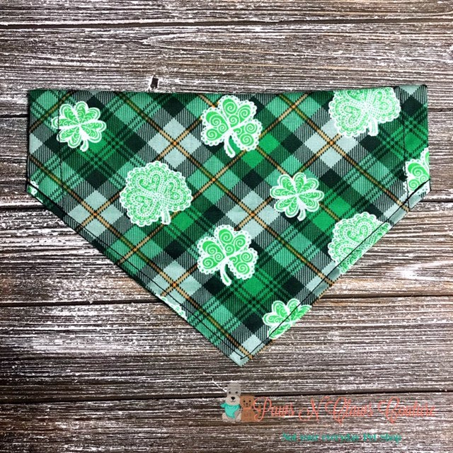 Plaid and Clover Bandana - Paws N Claws Couture