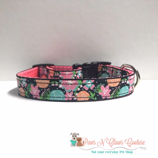 "5/8"" Glitter Floral Dog Collar - Paws N Claws Couture"
