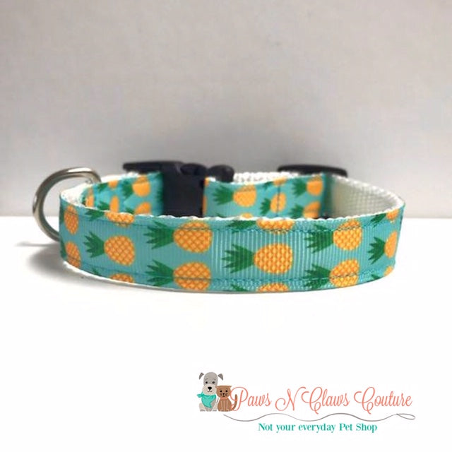 "5/8"" Teal Pineapple Dog Collar - Paws N Claws Couture"