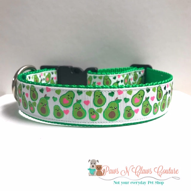 "1"" Foil Avocados & Hearts Dog Collar - Paws N Claws Couture"