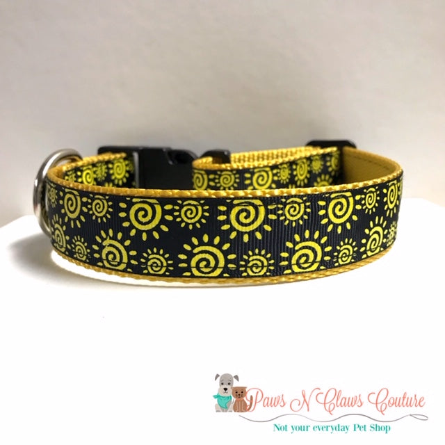 "1"" Sunshine Swirls Dog Collar - Paws N Claws Couture"