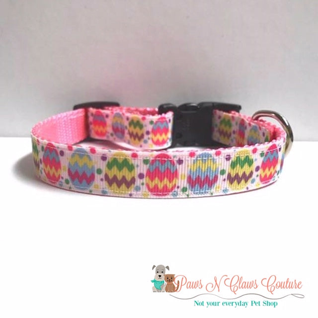 "5/8"" Chevron Easter eggs Dog Collar - Paws N Claws Couture"
