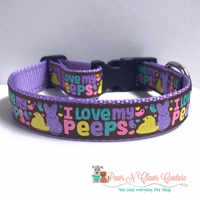 "1"" I love my Peeps Dog Collar"