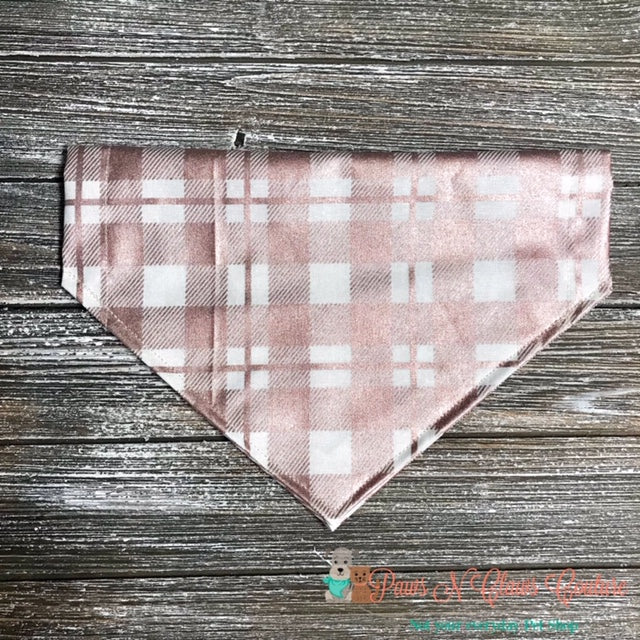 Metallic Rose Gold Plaid on Creme Bandana - Paws N Claws Couture