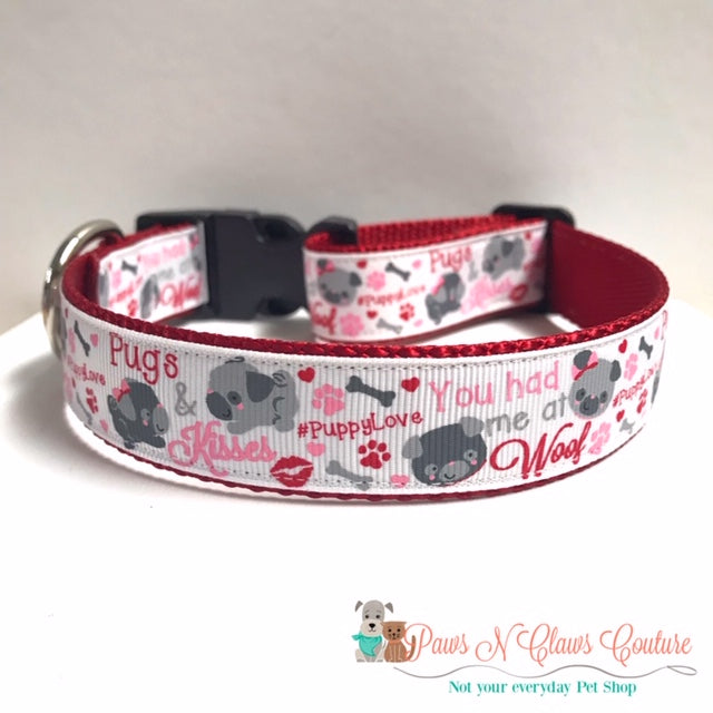 "1"" Pugs & Kisses Dog Collar - Paws N Claws Couture"
