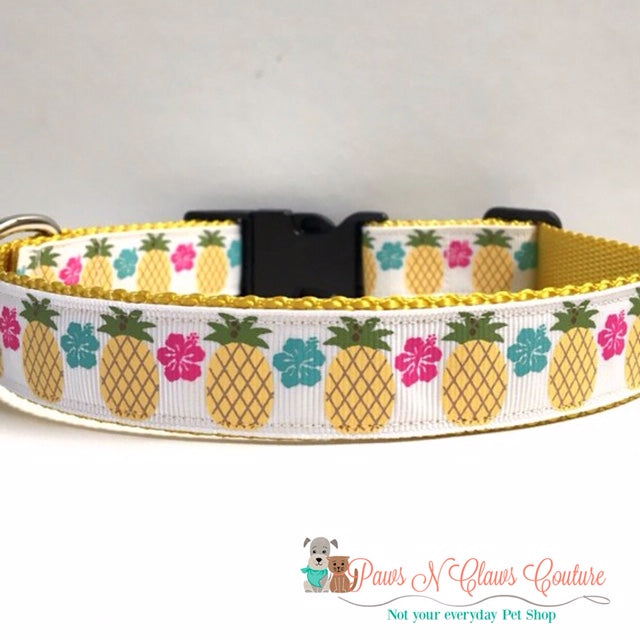 "1"" Floral & Pineapple Dog Collar"