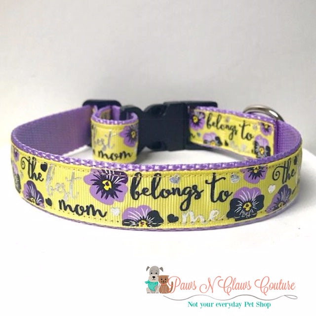 "1"" The Best Mom belongs to me Dog Collar"