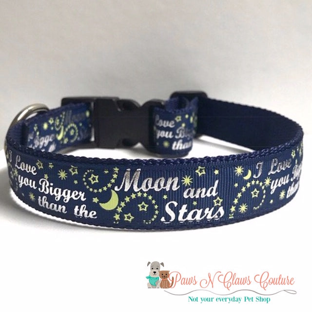 "1"" Moon & Stars Dog Collar - Paws N Claws Couture"
