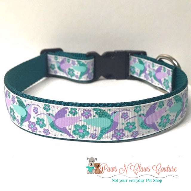 "1"" Glitter Hummingbirds Dog Collar"