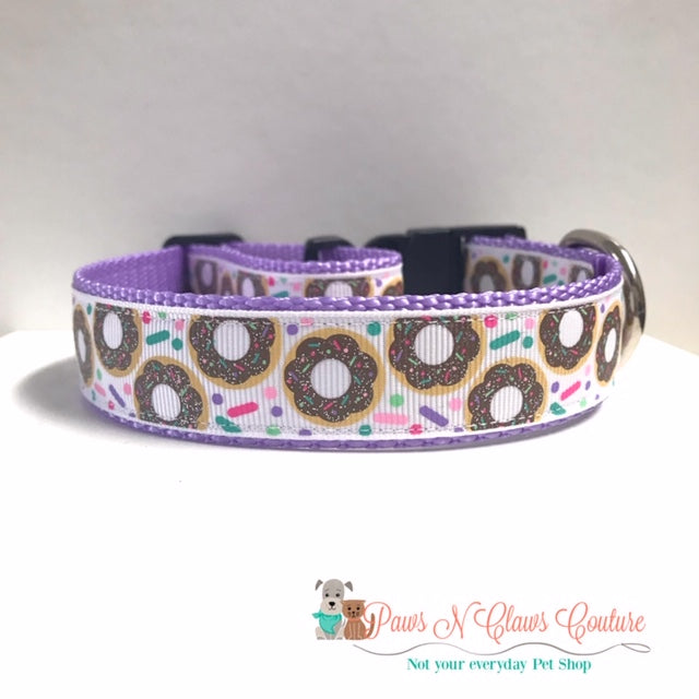 "1"" Glitter Donuts & Sprinkles Dog Collar - Paws N Claws Couture"