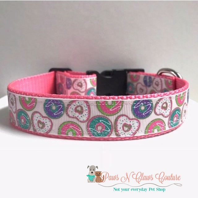 "1"" Glitter Donuts Dog Collar - Paws N Claws Couture"