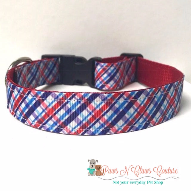 "1"" Patriotic Plaid Dog Collar - Paws N Claws Couture"
