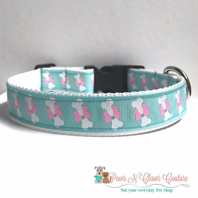 "1"" Bone in a Bow on Teal Dog Collar - Paws N Claws Couture"