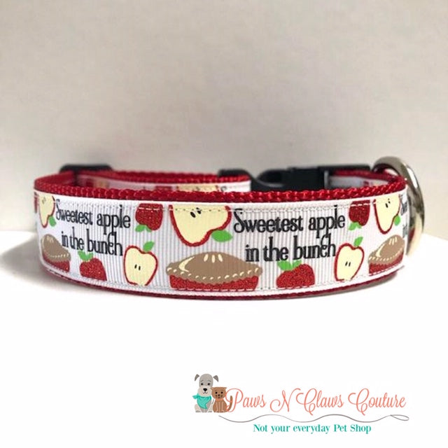"1"" The Sweetest Apple Dog Collar - Paws N Claws Couture"